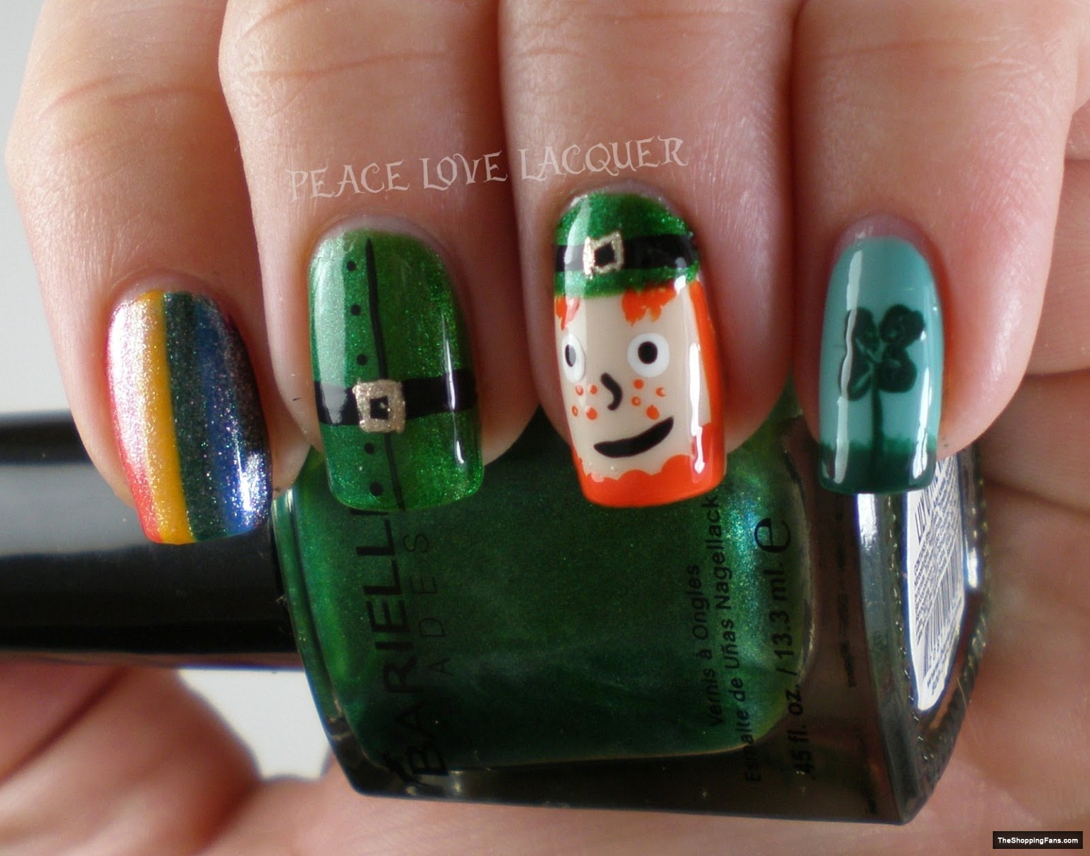 cute nail design for Irish day